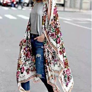 Boho Loose Chiffon Floral Kimono Cardigan